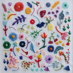 Rainbow Flowers Large Square on White Linen Hand Embroidered Art
