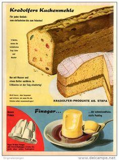 Original-Werbung/Inserat/ Anzeige 1950 - 1/1 SEITE/GROSSFORMAT-KRADOLFERS KUCHENMEHLE FINAGAR PUDDING - ca. 240 x 320 mm