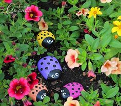 Learn to make these adorable ladybug painted rocks. use special outdoor paint fo… Learn to make these adorable ladybug painted rocks. use special outdoor paint for this adorable garden craft so you can keep garden ladybugs all summer! Diy Vintage, Vintage Garden Decor, Diy Garden Decor, Vintage Gardening, Outdoor Garden Decor, Decor Diy, Vintage Modern, Modern Rustic, Outdoor Gardens