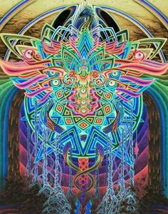 Glowing mandala with rainbow wings and caduceus serpents (unknown artist) Psychedelic Art, Alphonse Mucha, Goa, Acid Art, Psy Art, Hippie Art, Abstract Drawings, Visionary Art, Fractal Art