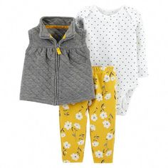 Carter's Baby Girl Quilted Vest Polka Dot Bodysuit & Floral Leggings Set - August 04 2019 at Baby Outfits, Toddler Outfits, Kids Outfits, Baby Girl Fashion, Toddler Fashion, Kids Fashion, Legging Outfits, Pants Outfit, Fall Leggings