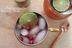 Pomegranate Moscow Mule served in a copper mug {Treats and Trends}