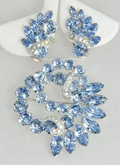 Check out the deal on Flashy Vintage Blue and Clear Dimensional Brooch and Earring Set Signed EISENBERG at Amazing Adornments