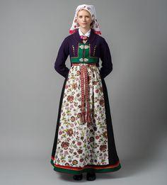 åmlibunad med blomstrete forkle Viking Clothing, Folk Clothing, Spring Outfits Women, Folk Costume, Fashion History, Traditional Dresses, Bridal Dresses, High Waisted Skirt, Mittens