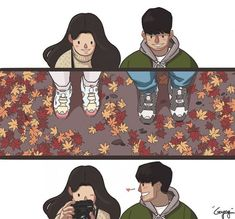Cutesy couples comics seem to be on trend lately, with plenty of inspiring and heartwarming examples to choose from. These are from Korean artist gyung, and tell simple tales of love. Cute Couple Comics, Couples Comics, Cute Couple Art, Couple Cartoon, Cute Comics, Cute Couples, Illustration Mignonne, Relationship Comics, Relationship Tips