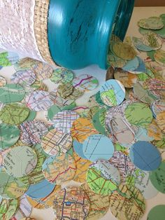 "Vintage Atlas Map Wedding confetti! Confetti for any special event, décor, centerpiece, aisle liner and inclusion in ""Save The Dates""! infused by PJ"