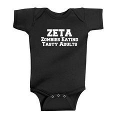 ZETA - Zombies Eating Tasty Adults Baby Bodysuit (Black, 18 Months)