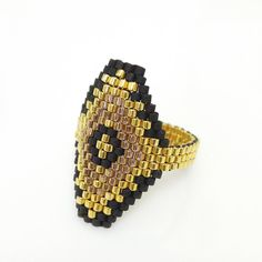 Beaded ring Peyote ring  Black and Gold Ring Hexagon Ring Luxe OOAK Ring by JeannieRichard