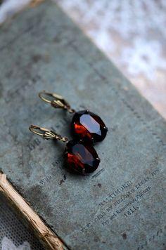 Original Estate Earrings MOCHA Swarovski by ShopHedgerowRose, $28.00