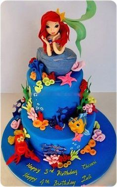 Ariel cake, Ariel the little mermaid :) Little Mermaid Birthday Cake, Little Mermaid Cakes, Girl 2nd Birthday, Little Mermaid Parties, The Little Mermaid, Birthday Ideas, 22nd Birthday, Disney Birthday, Happy Birthday