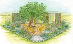 Ein neuer Sitzplatz am Grundstücksende - Noch geht das Grundstück fast übergangslos in die angrenzende Wiese über. Wir haben zwei Gestaltungsvorschläge für einen neuen Sitzplatz – als luftiges Gartenzimmer oder eingebettet in einen kleinen Senkgarten.