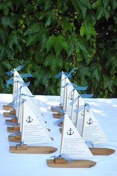 Sailboat invitations for a party on the bay.