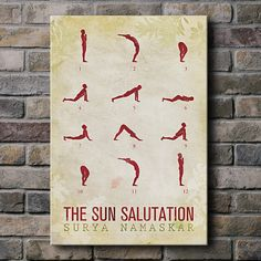 Items similar to Sun Salutation / 12 basic Yoga postures - Canvas Print (multiple color options) on Etsy Yoga Art, My Yoga, Basic Yoga, Yoga Tips, How To Do Yoga, Yoga Meditation, Yoga Poses, How To Fall Asleep, Watercolor Paintings