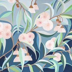 Eucalyptus Pops of fluffy pink peek out between the blue green leaves... This is a limited edition archival reproduction print of my original gouache painting, printed on Hahnemuhle Bamboo Paper. Each print is numbered, titled and signed beneath the image and will come packaged in a pro