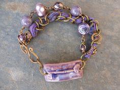 Purple Key to My Heart 2 strand bracelet with ceramic focal bracelet bar and recycled sari silk. Ribbon Jewelry, Jewelry Crafts, Jewelry Ideas, Jewelry Design, Strand Bracelet, Heart Bracelet, Charm Bracelets, Sari Silk, Key To My Heart