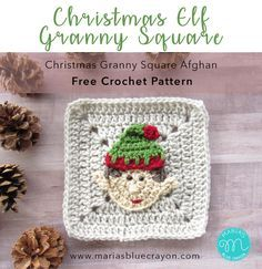 Christmas Elf Granny Square Free Crochet Pattern Part of the Christmas Granny Square Afghan Elf Applique sewed onto a Solid Granny Square Maria's Blue Crayon Holiday Crochet Patterns, Granny Square Crochet Pattern, Crochet Squares, Crochet Granny, Crochet Motif, Crochet Designs, Free Crochet, Crochet Afghans, Crochet Appliques