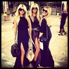 Blondes in black. Love all of the fashion.