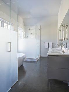 Calla McNamara Interiors   Modern Bathroom, Frosted Glass Shower Doors, Polished Concrete Floors  www.callamcnamara.com