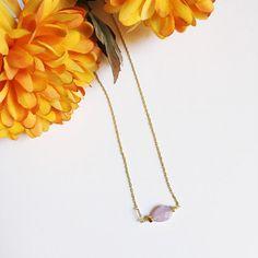 Teardrop Shape Lavender Bead Necklace from Midori Jewelry