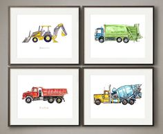 Here is a colorful set of my most popular working vehicles. These poppy 8x10 prints are made on sturdy archival matte paper, they fit standard frames and mats, and they add a light painterly whimsy to your decor. In this set are: - yellow backhoe loader - blue/green garbage truck