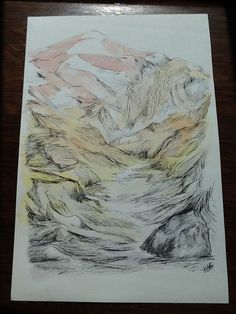 Original ink & watercolor painting signed H. JOSÉ, Abstract Mont-Blanc Mountain