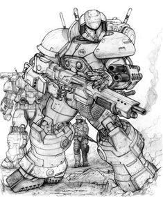 RIFTS NG SAMSON power armor block III by ChuckWalton.deviantart.com on @DeviantArt