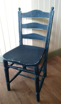 Shabby chic vintage elm chair hand painted in Annie Sloan Aubusson Blue