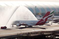 Qantas Airbus A380-800 Water Salute At Dubai Aircraft Wallpaper 4046