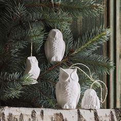 White Owl Ornaments by Roost