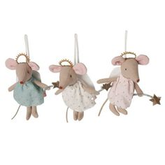 Adorable and whimsical little mouse from Danish toy maker Maileg! This small mouse is super cute with big rose ears and tiny leather tails. The lovely dress wi Christmas Angels, Kids Christmas, Christmas Crafts, Christmas Ornaments, Christmas Decorations For Kids, Holiday Decor, Room Decorations, Kids Decor, Maileg Bunny