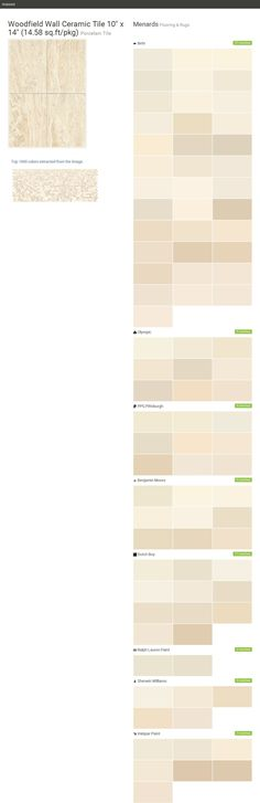 """Woodfield Wall Ceramic Tile 10"""" x 14"""" (14.58 sq.ft/pkg). Porcelain Tile. Flooring & Rugs. Menards. Behr. Olympic. PPG Pittsburgh. Benjamin Moore. Dutch Boy. Ralph Lauren Paint. Sherwin Williams. Valspar Paint.  Click the gray Visit button to see the matching paint names."""