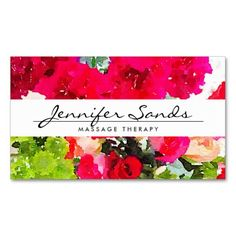 Elegant Name with Watercolor Bouquet of Flowers Business Card Template - ready to personalize with your info