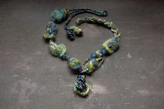 Crochet necklace with needle felted and wooden by rRradionica, $74.00