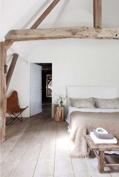 Farmhouse chic bedroom. Love the floorboards