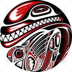 Haida Style Tattoo Design — JPG Image #haida #fish • Available here → https://graphicriver.net/item/haida-style-tattoo-design/3667713?ref=pxcr