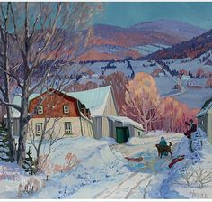 Louise Martineau Snowy Pictures, Charlevoix, Canadian Painters, Winter Painting, Happy Art, Learn To Paint, Canada, Painting Prints, Winter Wonderland