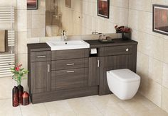 Mali Oak Fitted Bathroom Furniture - Basin units with drawers elongate a run of furniture, whilst a handy toilet roll holder is a great finishing touch. Cloakroom Toilet Downstairs Loo, Bathroom Vanity Units, Upstairs Bathrooms, Large Bathrooms, Small Bathroom, Bathroom Ideas, Cloakroom Ideas, Bathroom Sinks, Dream Bathrooms