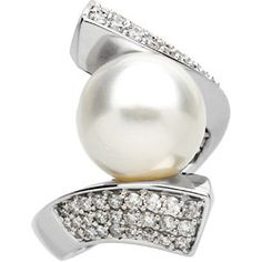 14kt White  South Sea Cultured Pearl & 7/8 CTW Diamond Ring
