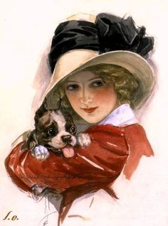 """Harrison Fisher - """"Girl with Puppy"""" WATERCOLOR"""