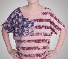 Vintage look USA flag woman T-shirt,American flag tshirt,batwing-sleeve Tee #xuguoying #BasicTee