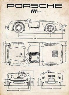 PORSCHE 550 SPYDER DIAGRAM VINTAGE RACECAR - PARCHMENT 911 356
