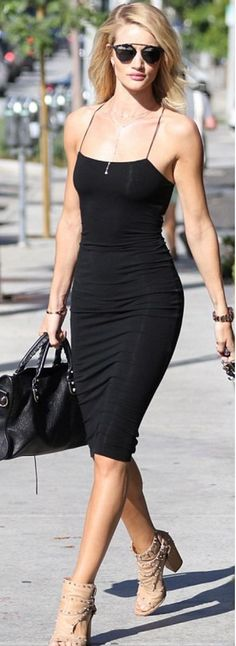 Model street style | Little black dress and studded sandals
