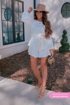 White Romper (Aura), Lack of Color Hat, Chloe Wedges, Louis Vuitton Bag. Emily Gemma, The Sweetest Thing Blog #EmilyGemma #theSweetestThingBlog Cool Summer Outfits, Simple Outfits, Spring Outfits, Trendy Outfits, Cute Outfits, Camo Fashion, I Love Fashion, Fashion Ideas, Vuitton Bag