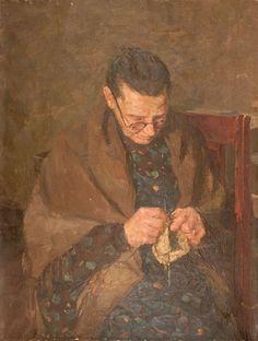 """Retrato de una anciana"" - ""Portrait of an Old Woman"" (Óleo sobre lienzo. 1957) Olga Nicolaivna Ludevig (1921- vive aún) Pintora rusa, de Leningrado. En 1951 se graduó en el Instituto Surikov Estado de Arte de Moscú Russian Painting, Russian Art, Knitting Club, Knit Art, Sewing Art, Old Women, Female Art, Painting & Drawing, Needlework"