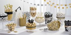 Wedding Candy Buffet Supplies Wedding Candy Bar Party City Candy Table For Wedding - Sweet Wedding White Candy Bars, Gold Candy Buffet, Candy Table, Candy Bar Party, Candy Bar Wedding, Party Wedding, Gold Wedding, Bridal Party Foods, Candy Buffet Supplies