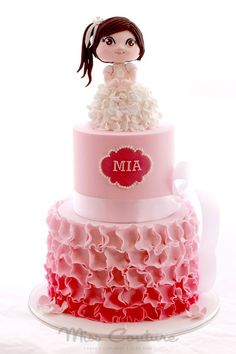 Adorable with sweet and Beautiful two tier in We love and had to share! Great Miss Couture - Cakes Fondant Cakes, Cupcake Cakes, Kid Cakes, Beautiful Cakes, Amazing Cakes, Teen Girl Cakes, Two Tier Cake, Cupcake Pictures, Baby Birthday Cakes