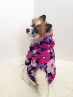 f25fbda3dda Pink and Purple Flower Dog Hoodie, Pet Sweater, for Small Breeds by  LizzyAndMeekoShop on Etsy