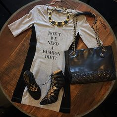 Don't we need a Fashion diet???? Love Moschino Dress paired with BCBG Necklace, Chanel Black Leather a vintage Chain Strap Tote & Jimmy Choo Black Suede Feline Lace Up Sandal Heels! Bag & Shoes are available to purchase on www.mymoshposh.com! Call us at 813-258-8800 if you would like to purchase the dress & necklace! #ootd #fashion #trendy #socute #fashiondiet #lovemoschino #bcbg #chanel #chanelvintageshoulderbag #jimmychoo #inlove #dontweneedafashiondiet