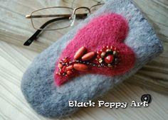 Valentine's gift/felting case/natural wool case/eco-friendly sleeve/unique gift for her/felt purse/art glasses case/OOAK gift/grandma gifts by BlackPoppyArt on Etsy