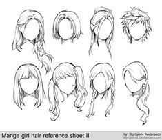 manga girl hair reference sheet II - 20130113 by StyrbjornA.deviantart.com on @deviantART